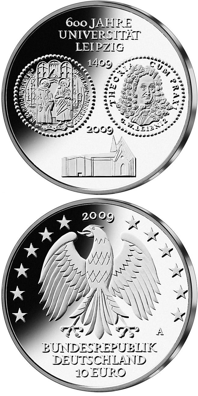 600 Jahre Universit 228 T Leipzig 10 Euro Coin Germany 2009