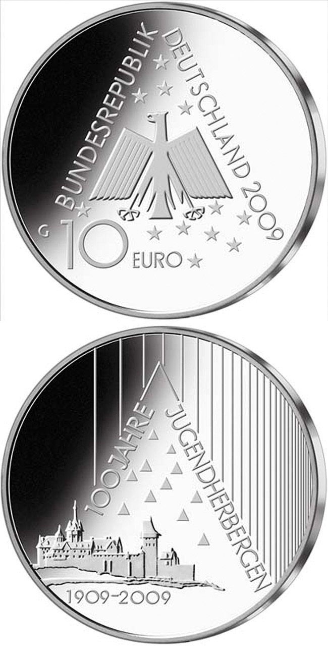 Image of 10 euro coin – 100 Jahre Deutsches Jugendherbergswerk | Germany 2009.  The Silver coin is of Proof, BU quality.
