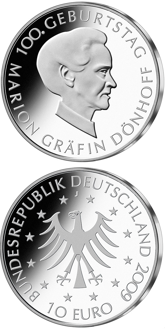 Image of 10 euro coin – 100. Geburtstag Marion Gräfin Dönhoff | Germany 2009.  The Silver coin is of Proof, BU quality.