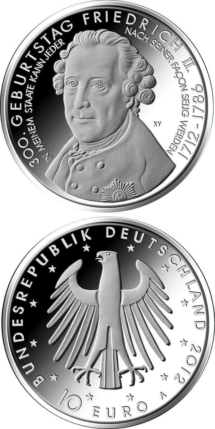 Image of 10 euro coin – 300.Geburtstag Friedrich der Große | Germany 2012.  The Silver coin is of Proof, BU quality.