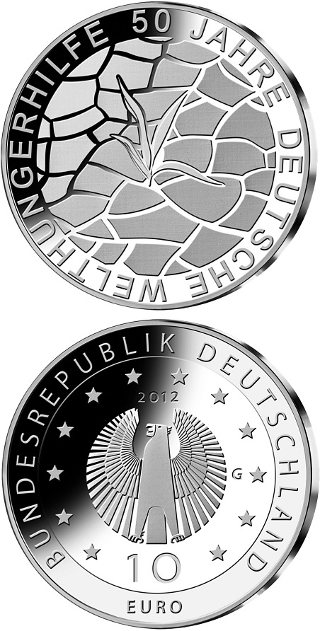 Image of 10 euro coin - 50 Jahre Welthungerhilfe | Germany 2012.  The Silver coin is of Proof, BU quality.