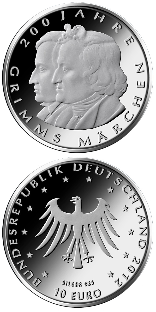 Image of 10 euro coin – 200 Jahre Kinder- und Hausmärchen der Brüder Grimm | Germany 2012.  The Silver coin is of Proof, BU quality.