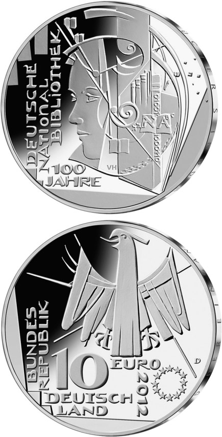 Image of 100 Jahre Deutsche Nationalbibliothek – 10 euro coin Germany 2012.  The Silver coin is of Proof, BU quality.