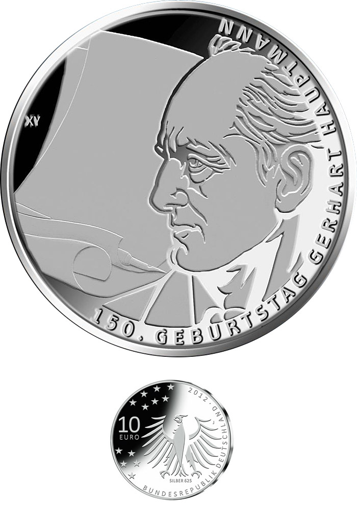 Image of 10 euro coin - 150. Geburtstag Gerhart Hauptmann | Germany 2012.  The Silver coin is of Proof, BU quality.
