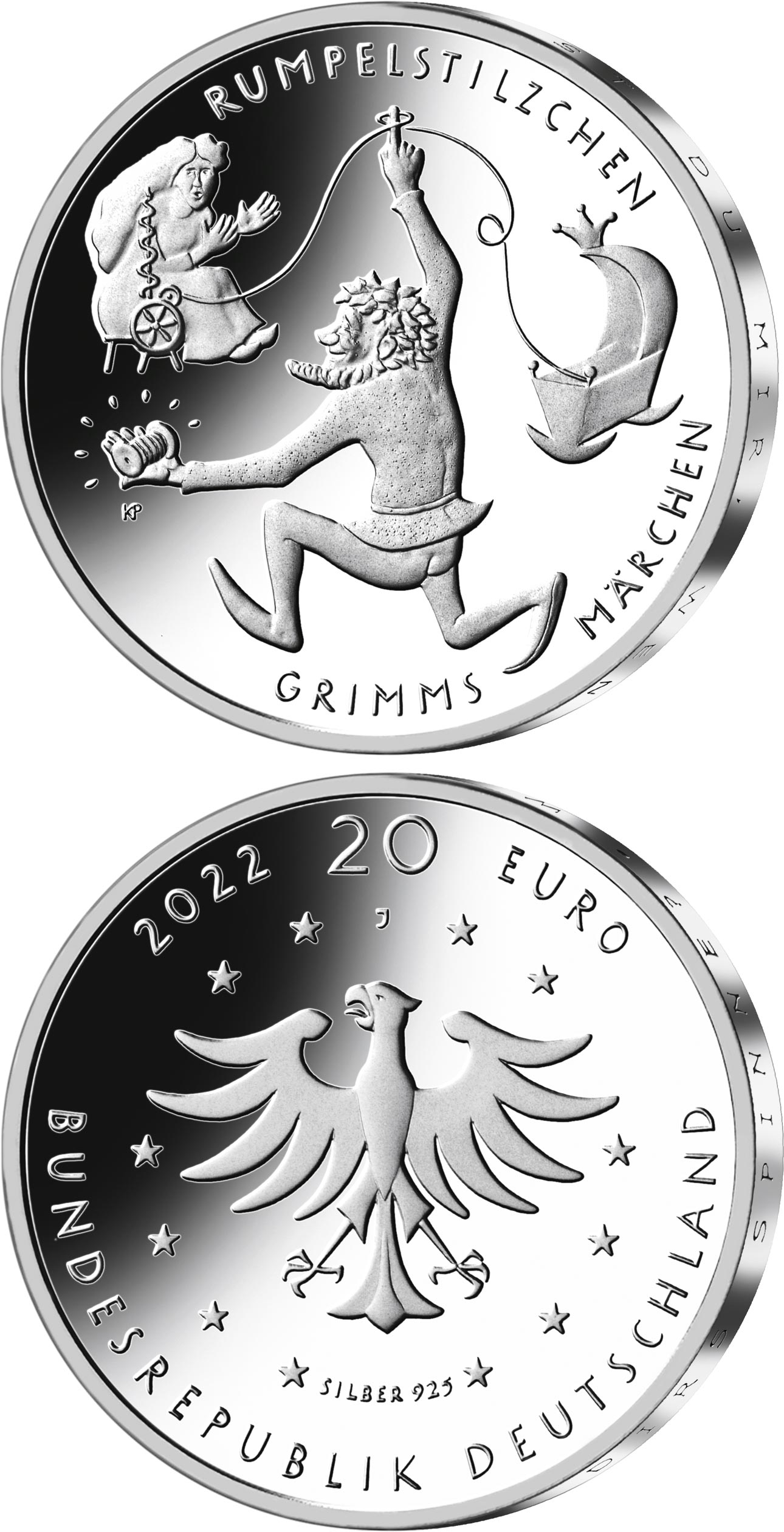 Image of 20 euro coin - Rumpelstiltskin | Germany 2022.  The Silver coin is of Proof, BU quality.