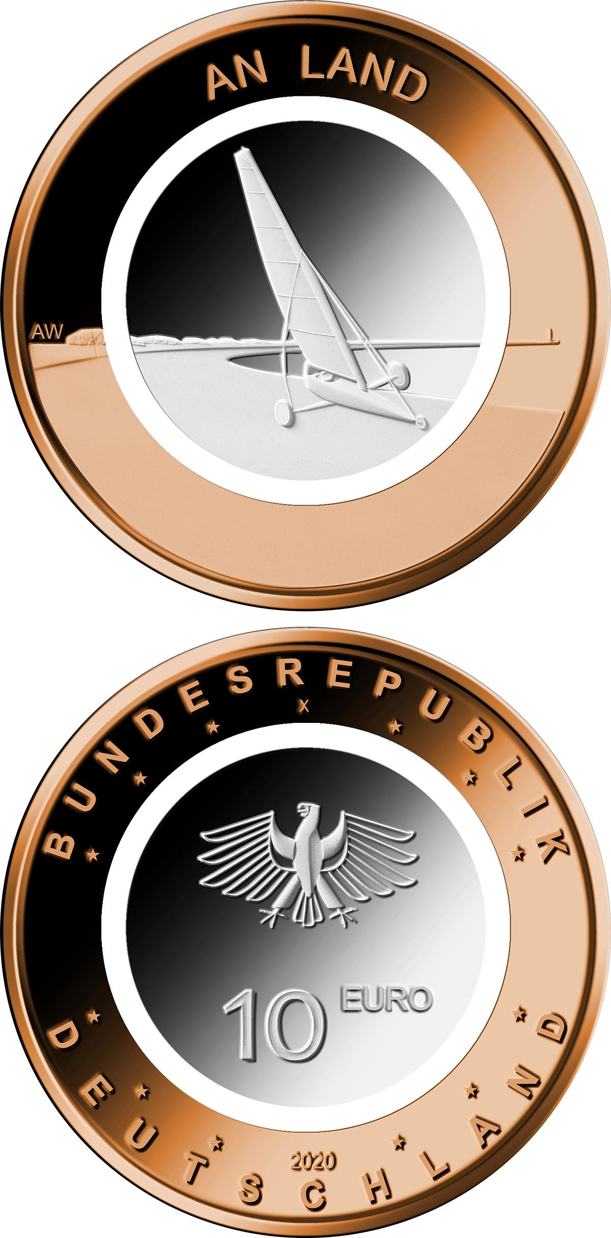 Image of 10 euro coin - On the Land | Germany 2020.  The Bimetal: CuNi, Brass coin is of BU quality.