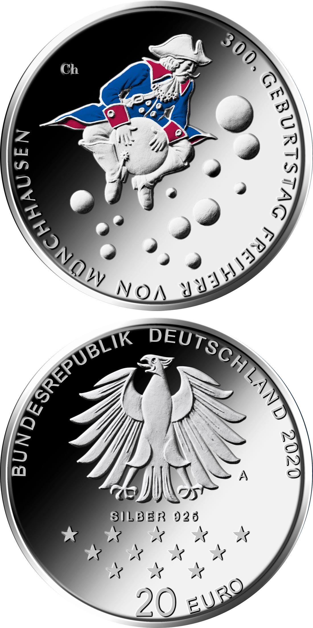 Image of 20 euro coin - 300th Anniversary of the Birth of Friedrich von Münchhausen | Germany 2020.  The Silver coin is of Proof, BU quality.