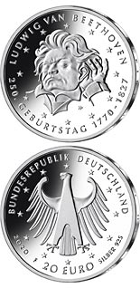 20 euro coin 250th Anniversary of the Birth of Ludwig van Beethoven | Germany 2020
