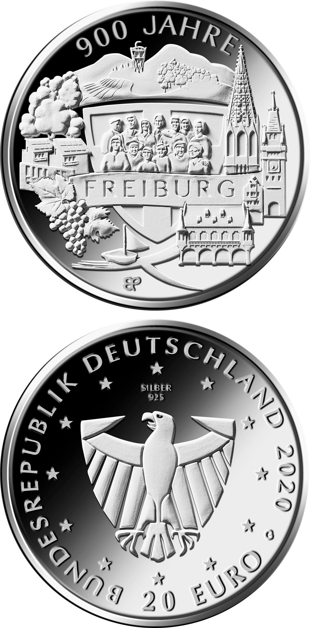 Image of 20 euro coin - 900 Years of Freiburg | Germany 2020.  The Silver coin is of Proof, BU quality.