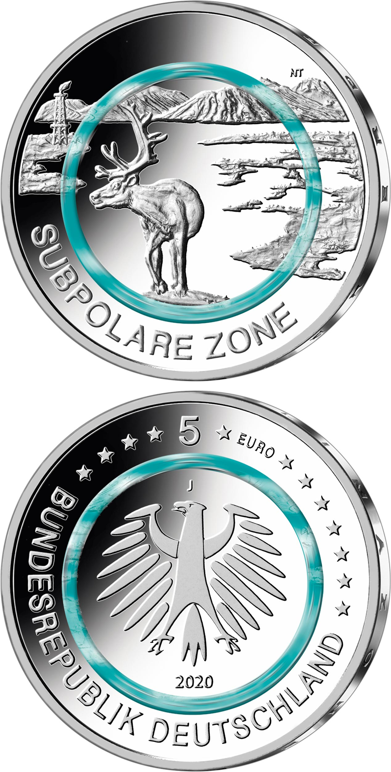 Image of 5 euro coin - Subpolar Zone | Germany 2020.  The Copper coin is of UNC quality.