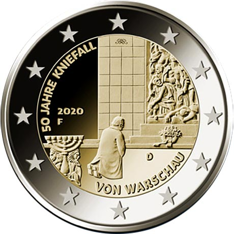 Image of 2 euro coin - 50 years of the Warschauer Kniefall (Warsaw genuflection) | Germany 2020