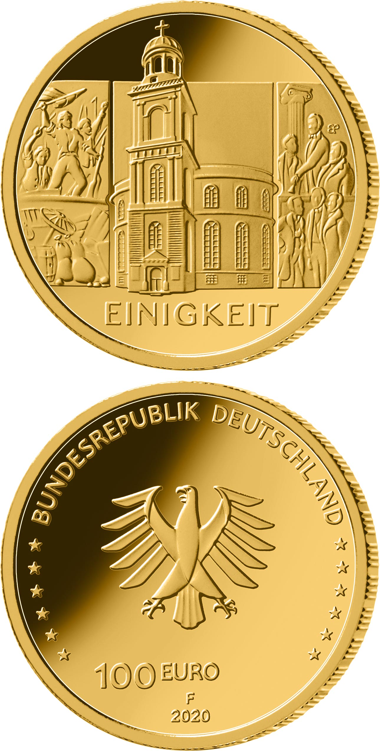 Image of 100 euro coin - The Unity - St. Paul's Church | Germany 2020.  The Gold coin is of Proof quality.