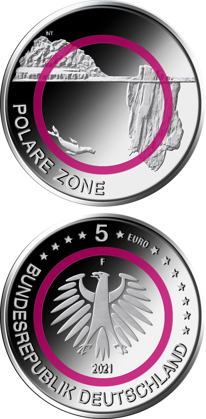 Image of 5 euro coin - Polar Zone | Germany 2021.  The Copper coin is of UNC quality.