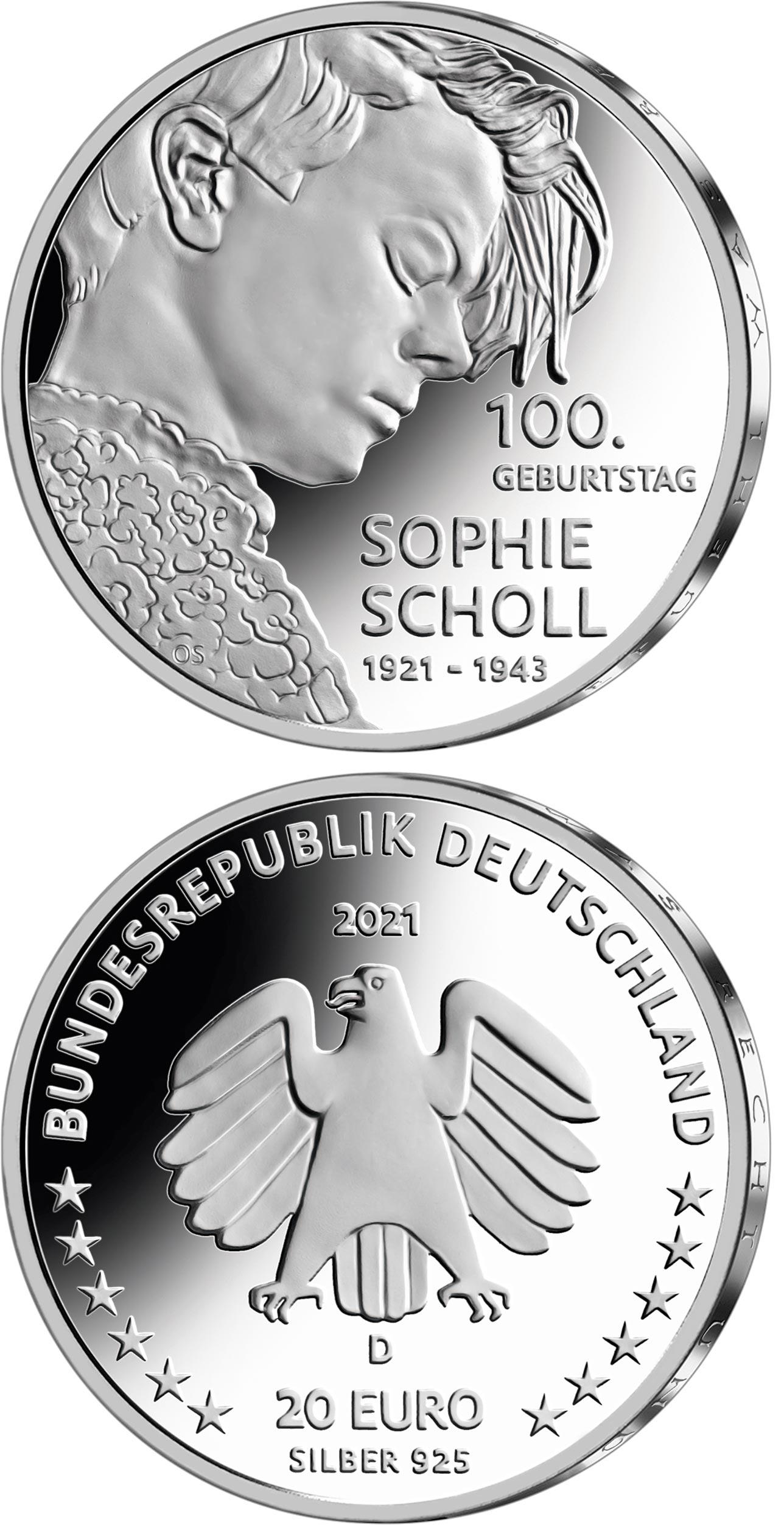 Image of 20 euro coin - 100th Anniversary of the Birth of Sophie Scholl | Germany 2021.  The Silver coin is of Proof, BU quality.