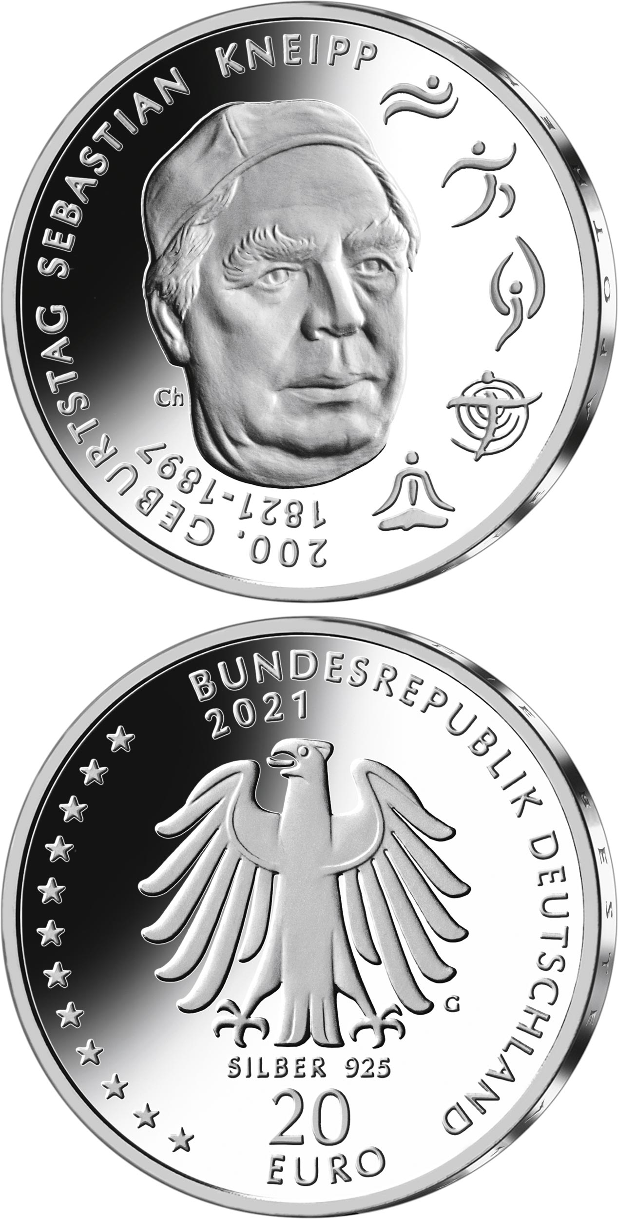 Image of 20 euro coin - 200th Anniversary of the Birth of Sebastian Kneipp | Germany 2021.  The Silver coin is of Proof, BU quality.