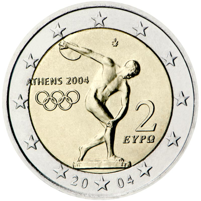 Image of 2 euro coin – Summer Olympics in Athens 2004 | Greece 2004