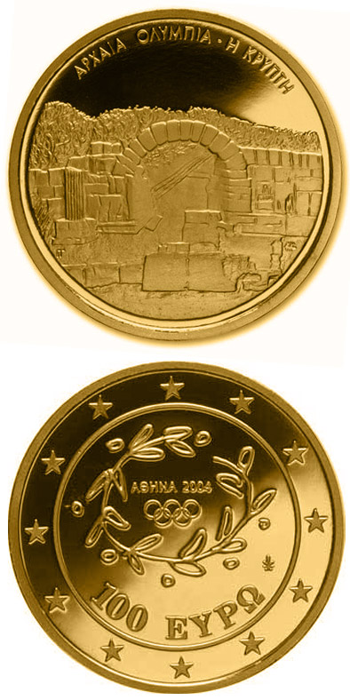 Image of 100 euro coin - XXVIII. Summer Olympics 2004 in Athens - Crypt - the entrance to the stadium of Olympia | Greece 2003.  The Gold coin is of Proof quality.