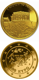 100 euro coin XXVIII. Summer Olympics 2004 in Athens - Acropolis | Greece 2004