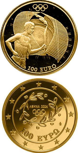 Image of 100 euro coin – Torch Relay - Start Ceremony   | Greece 2004.  The Gold coin is of Proof quality.