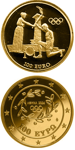 Image of 100 euro coin - Torch Relay - Return Ceremony  | Greece 2004.  The Gold coin is of Proof quality.