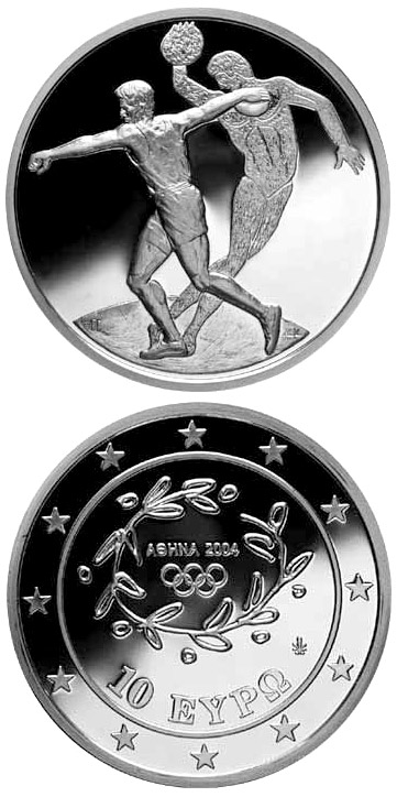 Image of 10 euro coin – XXVIII. Summer Olympics 2004 in Athens - Discus | Greece 2003.  The Silver coin is of Proof quality.