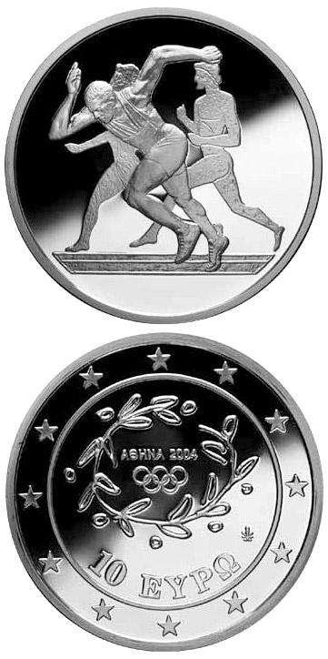 Image of 10 euro coin – XXVIII. Summer Olympics 2004 in Athens - Sprint | Greece 2003.  The Silver coin is of Proof quality.