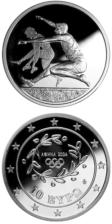Image of 10 euro coin – XXVIII. Summer Olympics 2004 in Athens - Long-jump | Greece 2003.  The Silver coin is of Proof quality.