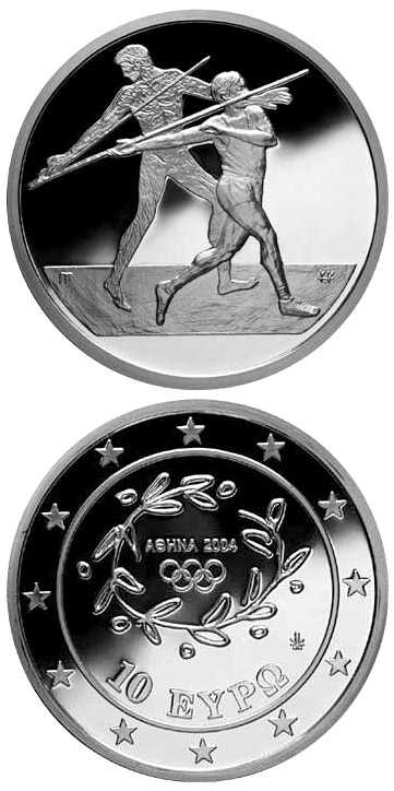 Image of 10 euro coin - XXVIII. Summer Olympics 2004 in Athens - Javelin | Greece 2003.  The Silver coin is of Proof quality.