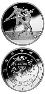 10 euro coin XXVIII. Summer Olympics 2004 in Athens - Javelin | Greece 2003