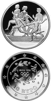Image of 10 euro coin - XXVIII. Summer Olympics 2004 in Athens - Relay race | Greece 2003.  The Silver coin is of Proof quality.
