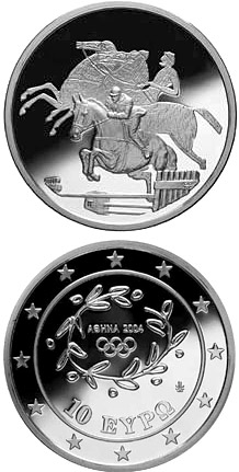 Image of 10 euro coin - XXVIII. Summer Olympics 2004 in Athens - Riding / Show jumper | Greece 2003.  The Silver coin is of Proof quality.