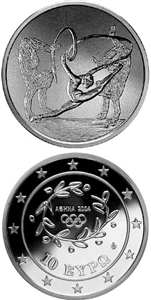 Image of 10 euro coin XXVIII. Summer Olympics 2004 in Athens - Rhythmic gymnastics / Gymnasts | Greece 2003.  The Silver coin is of Proof quality.