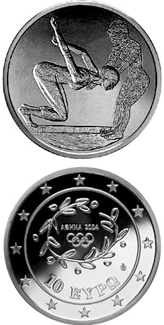 Image of XXVIII. Summer Olympics 2004 in Athens - Swimming – 10 euro coin Greece 2003.  The Silver coin is of Proof quality.