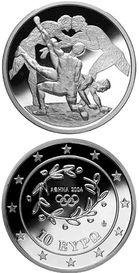 10 euro XXVIII. Summer Olympics 2004 in Athens - Wrestling - 2004 - Series: Silver 10 euro coins - Greece