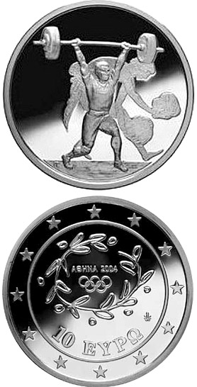 10 euro XXVIII. Summer Olympics 2004 in Athens - Weightlifting - 2004 - Series: Silver 10 euro coins - Greece