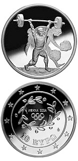 10 euro coin XXVIII. Summer Olympics 2004 in Athens - Weightlifting | Greece 2004