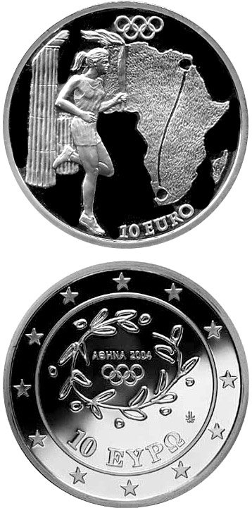 Image of 10 euro coin – Torch Relay Africa - XXVIII. Summer Olympics 2004 in Athens | Greece 2004.  The Silver coin is of Proof quality.