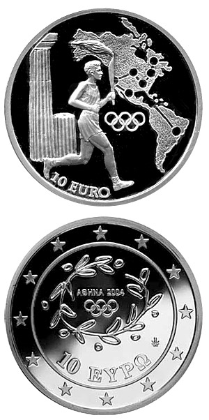 Image of 10 euro coin – Torch Relay America - XXVIII. Summer Olympics 2004 in Athens | Greece 2004.  The Silver coin is of Proof quality.