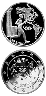 10 euro coin Torch Relay America - XXVIII. Summer Olympics 2004 in Athens | Greece 2004