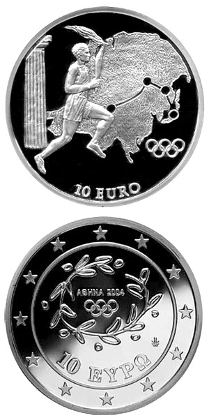 Image of Torch Relay Asia - XXVIII. Summer Olympics 2004 in Athens – 10 euro coin Greece 2004.  The Silver coin is of Proof quality.