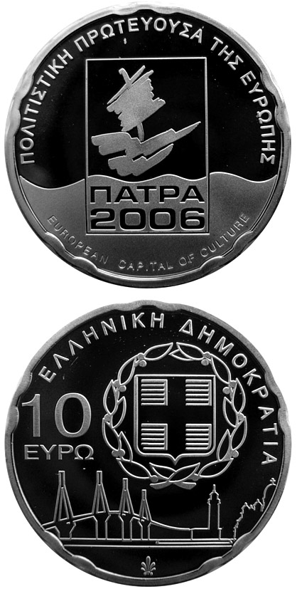 Image of 10 euro coin – Patras - European Capital of Culture | Greece 2006.  The Silver coin is of Proof quality.