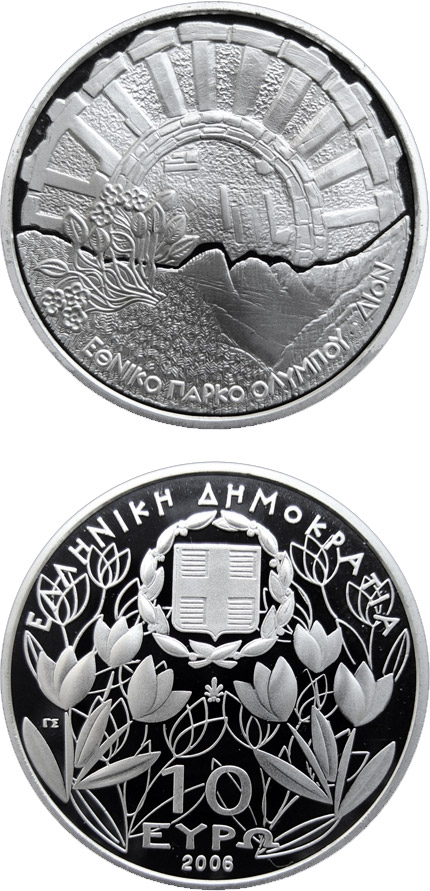 Image of 10 euro coin – 50 years National park Olympos - Excavations at Dion Olympus | Greece 2006.  The Silver coin is of Proof quality.