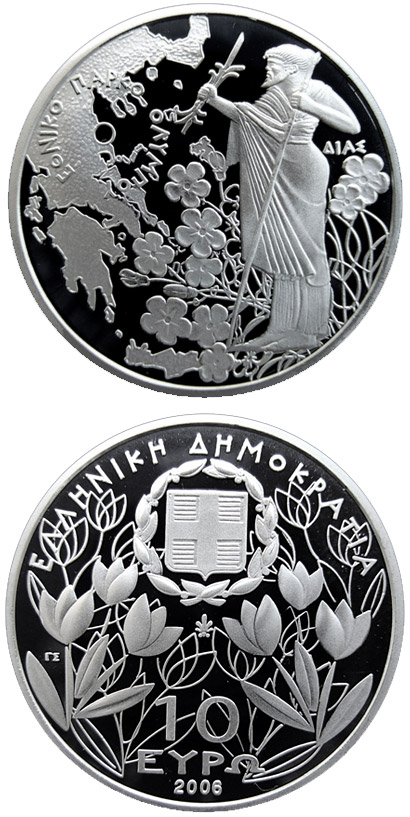 Image of 10 euro coin - 50 years National park Olympos – Zeus | Greece 2006.  The Silver coin is of Proof quality.