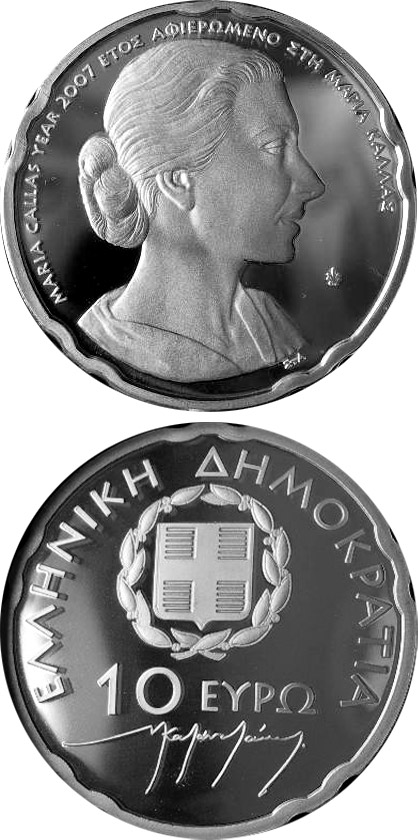 Image of 10 euro coin - 30th anniversary of the death of Maria Callas  | Greece 2007.  The Silver coin is of Proof quality.
