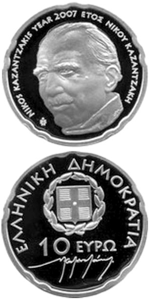 10 euro 50th anniversary of the death of Nikos Kazantzakis   - 2007 - Series: Silver 10 euro coins - Greece