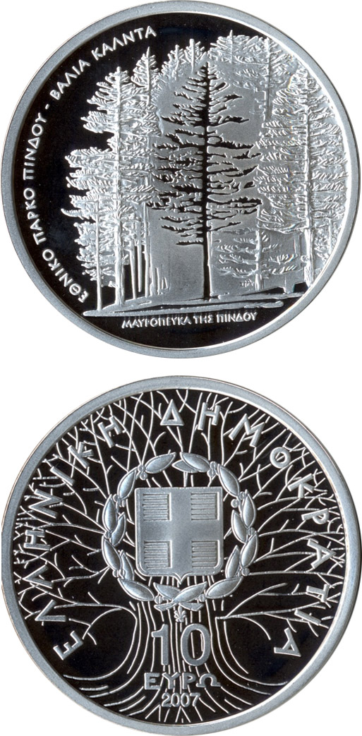 Image of National park von Pindos - Black pine – 10 euro coin Greece 2007.  The Silver coin is of Proof quality.