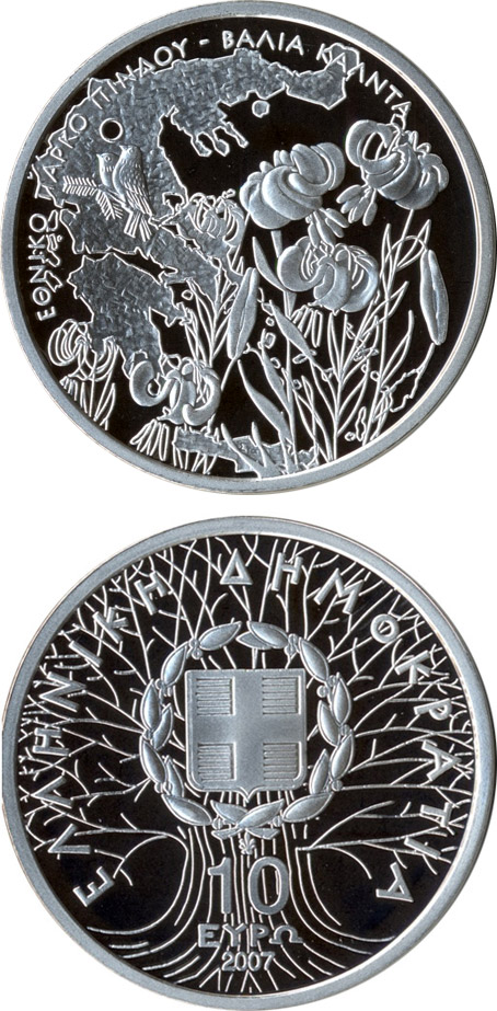Image of a coin 10 euro | Greece | National park von Pindos - Wild flowers and birds | 2007