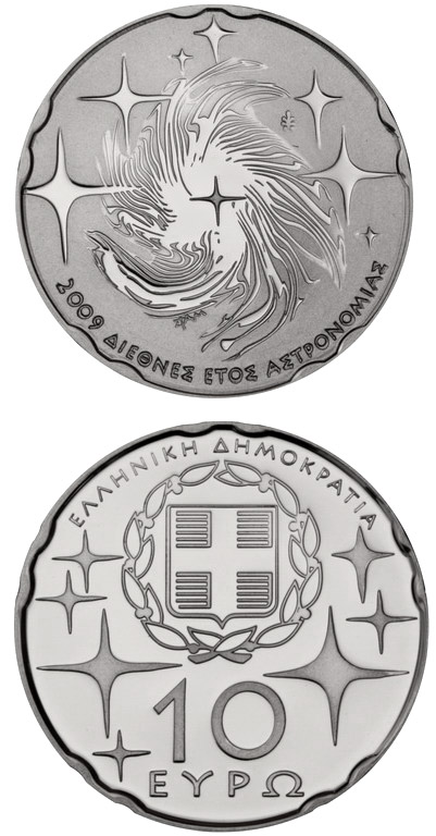 Image of 10 euro coin International Year of Astronomy | Greece 2009.  The Silver coin is of Proof quality.