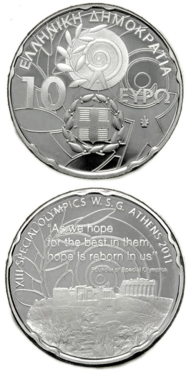 10 euro: XIII Special Olympics World Summer Games Athens 2011 - Acropolis | Greece