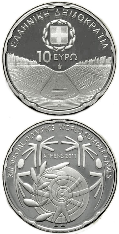 Image of 10 euro coin – XIII Special Olympics World Summer Games Athens 2011 - Panathenaiko Stadium  | Greece 2011.  The Silver coin is of Proof quality.